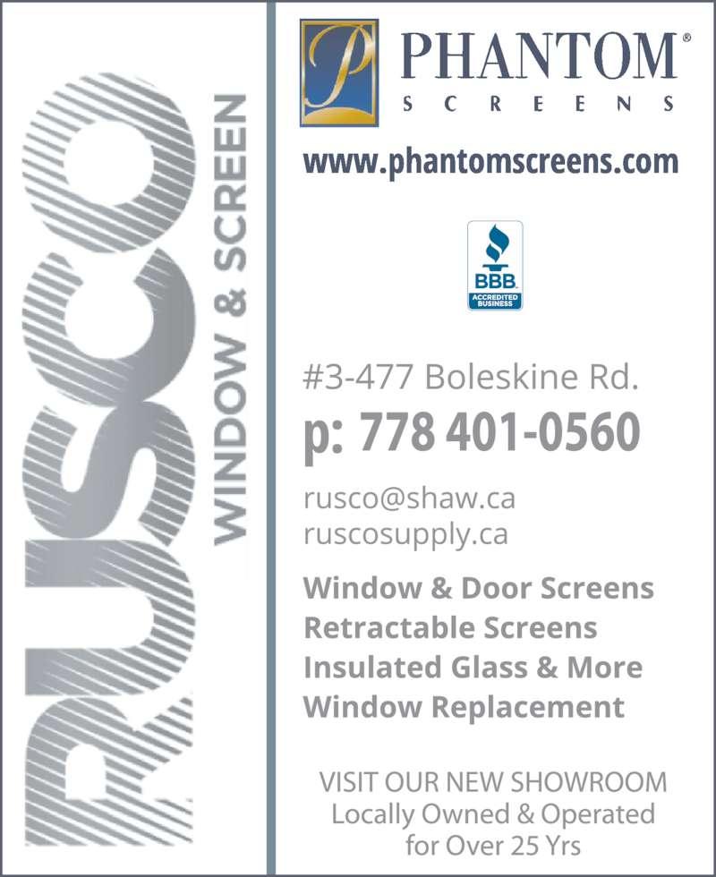 Phantom Screens (250-475-1110) - Display Ad -