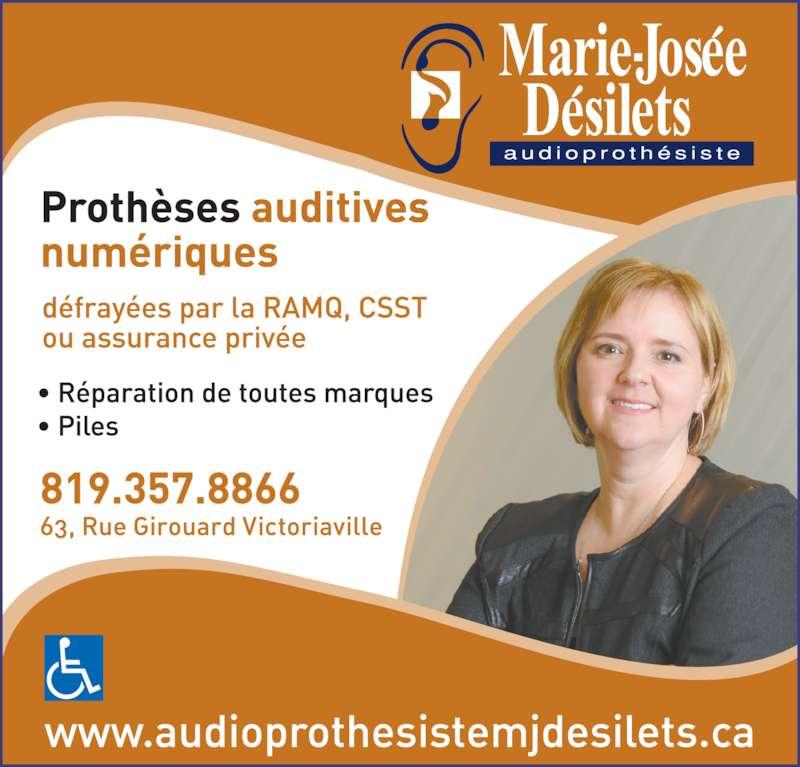 Audioprothésiste Désilets Marie-Josée (819-357-8866) - Annonce illustrée======= -