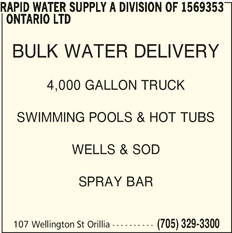 Rapid Water Supply 107 Wellington St Orillia On