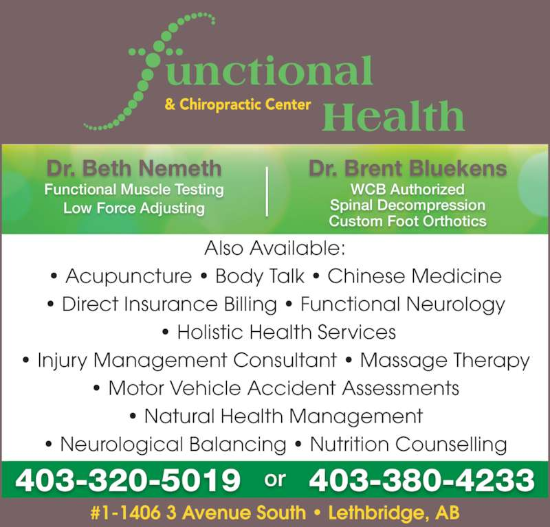 Functional Health Chiropractic Center Opening Hours 1 1406 3 Ave S Lethbridge Ab