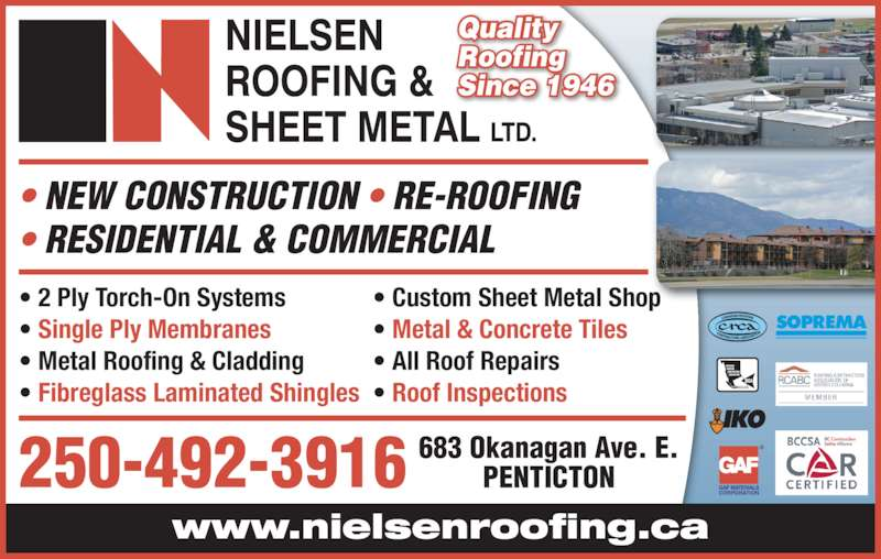 Nielsen Roofing U0026 Sheet Metal Ltd (250 492 3916)   Display Ad