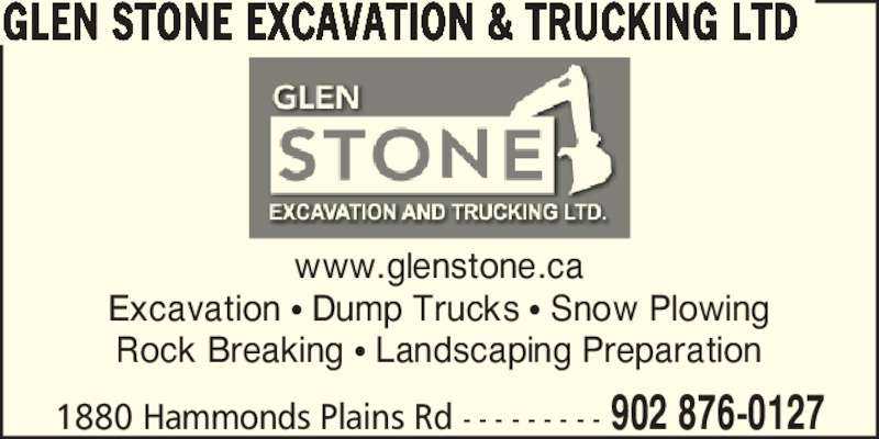 Glen Stone Excavation & Trucking Ltd (902-876-0127) - Annonce illustrée======= -