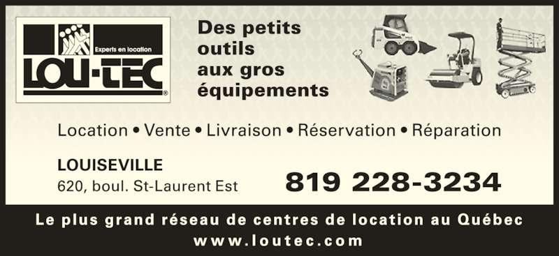Lou-Tec (819-228-3234) - Annonce illustrée======= -