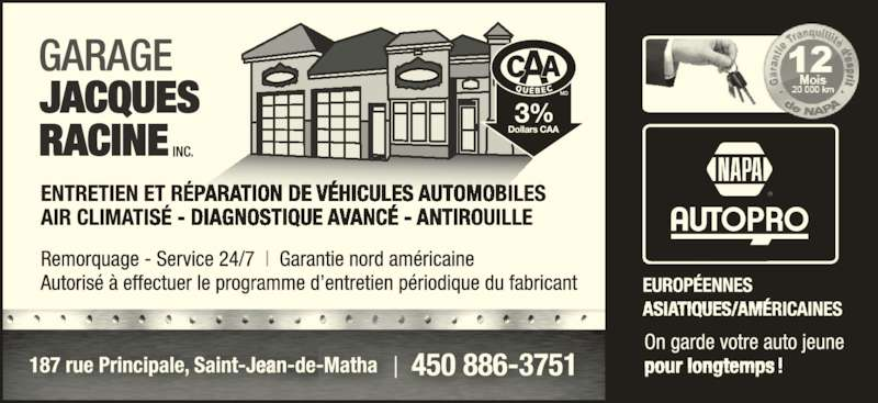 Garage racine jacques saint jean de matha qc 187 rte for Garage ad sainte foy de peyroliere