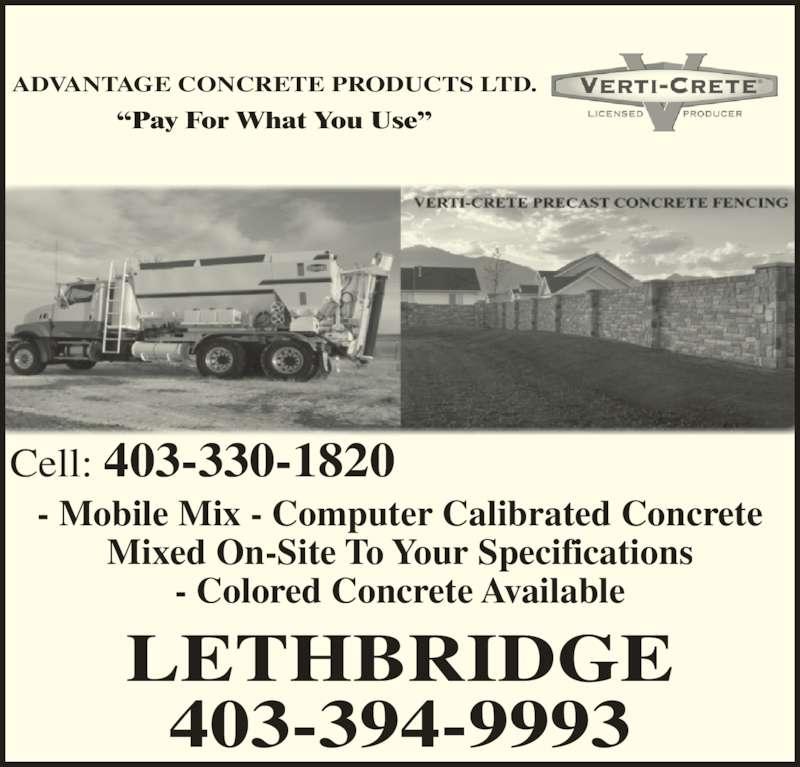 Advantage Concrete Products Ltd Canpages