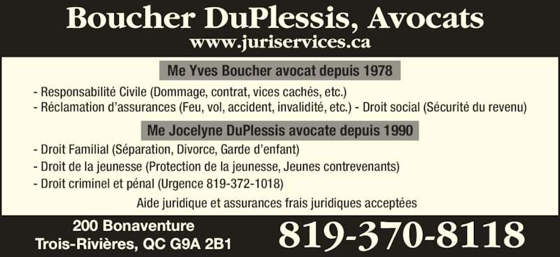 boucher duplessis avocat e s 200 rue bonaventure trois rivi res qc. Black Bedroom Furniture Sets. Home Design Ideas