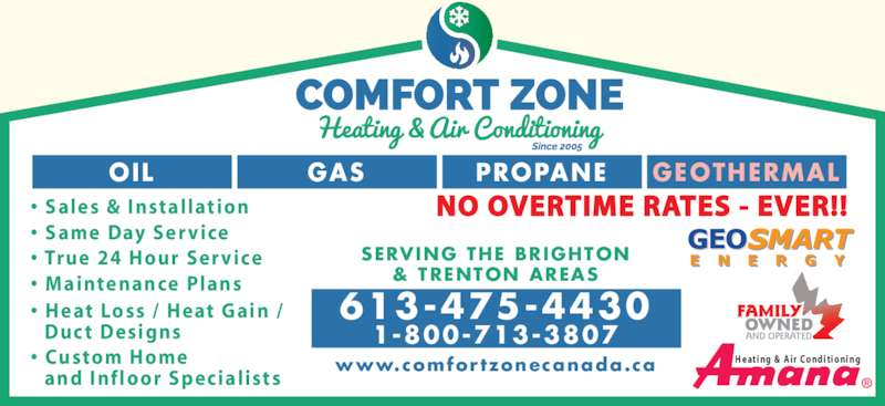 comfort zone heating air conditioning canpages