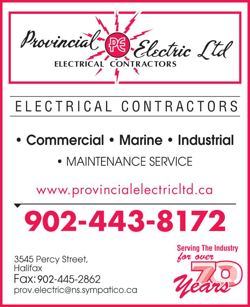 Provincial Electric Limited (902-443-8172) - Display Ad - www.provincialelectricltd.ca