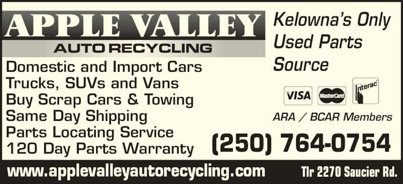 Apple Valley Auto Recycling & Service - Kelowna, BC - 1 ...