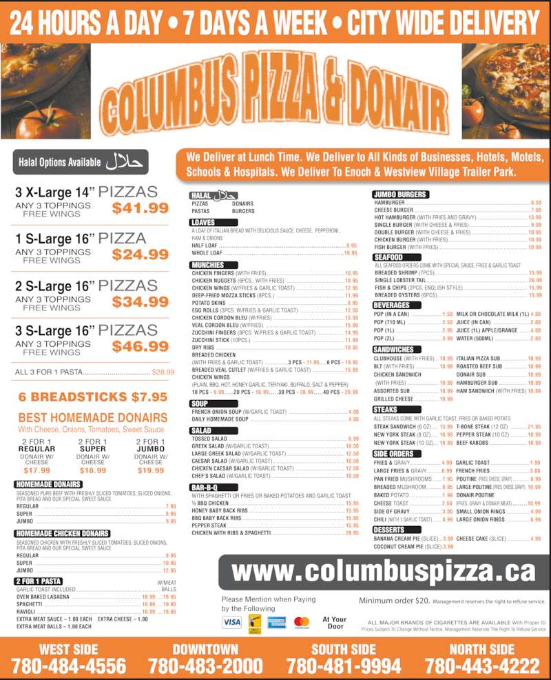 Columbus Pizza Amp Donair Inc Menu Hours Amp Prices 8230