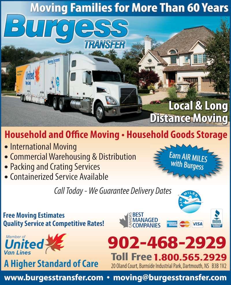 Burgess Transfer & Storage Limited (902-468-2929) - Display Ad - 902-468-2929 1.800.565.2929