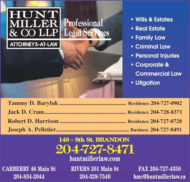 Hunt Miller Amp Co Llp Jack D Cram Res Brandon Mb 148