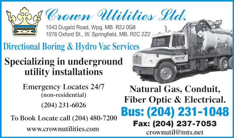 Crown Utilities Ltd (204-231-1048) - Annonce illustrée======= -