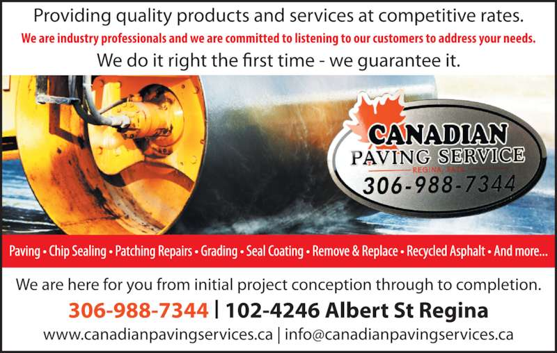Canadian Paving Service (306-988-7344) - Display Ad -