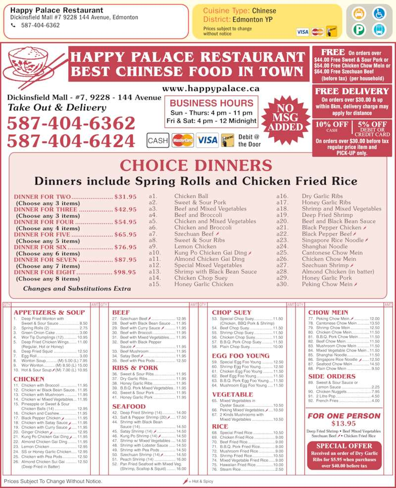 happy palace restaurant menu hours prices 7 9228. Black Bedroom Furniture Sets. Home Design Ideas