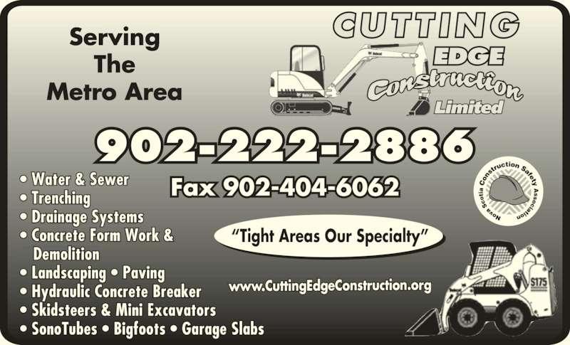 Cutting Edge Construction Limited (902-222-2886) - Annonce illustrée======= -