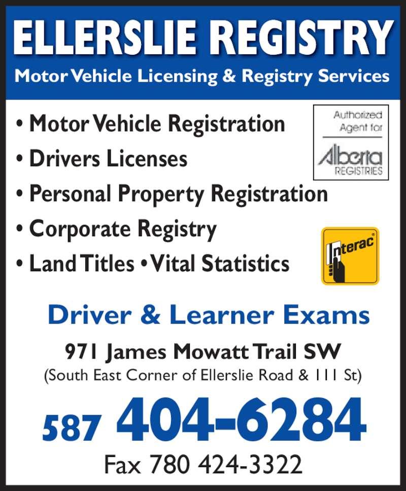 Ellerslie Registries Opening Hours 971 James Mowatt Trail Sw Edmonton Ab