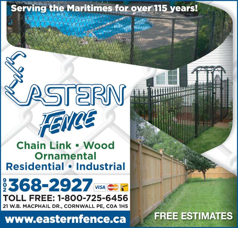 Eastern Fence Limited (902-368-2927) - Display Ad - FREE ESTIMATES