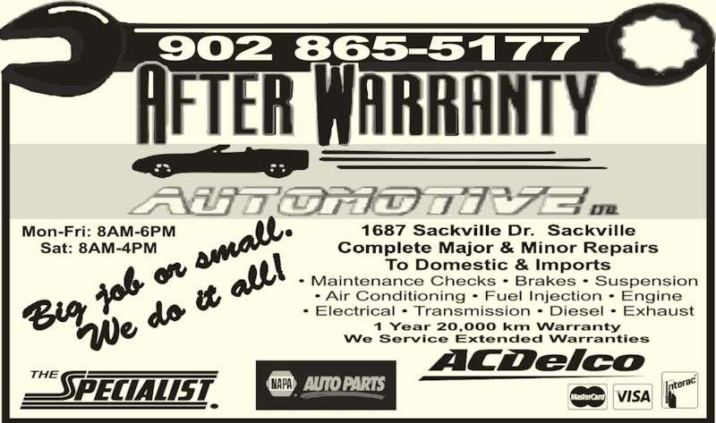 After Warranty Automotive Repair (902-865-5177) - Display Ad -