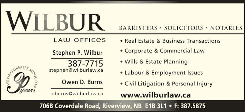 Wilbur Law Offices (5063877715) - Display Ad - Owen D. Burns