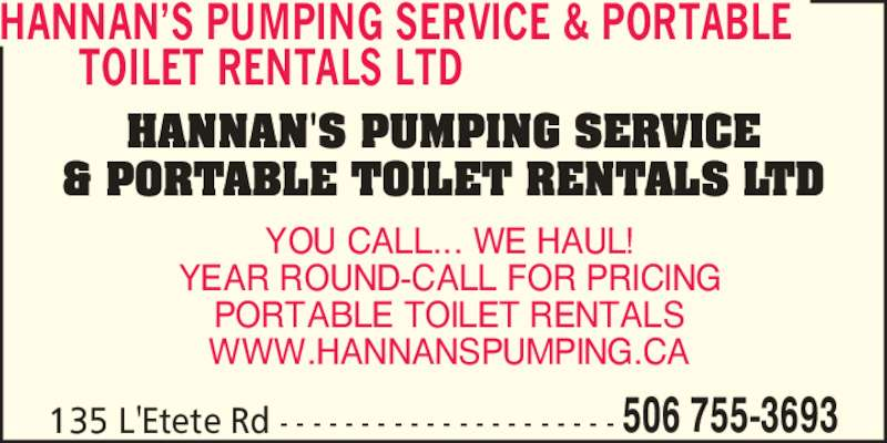 Hannan 39 S Portable Toilet Rentals St George NB 135 Letete Rd Canpages