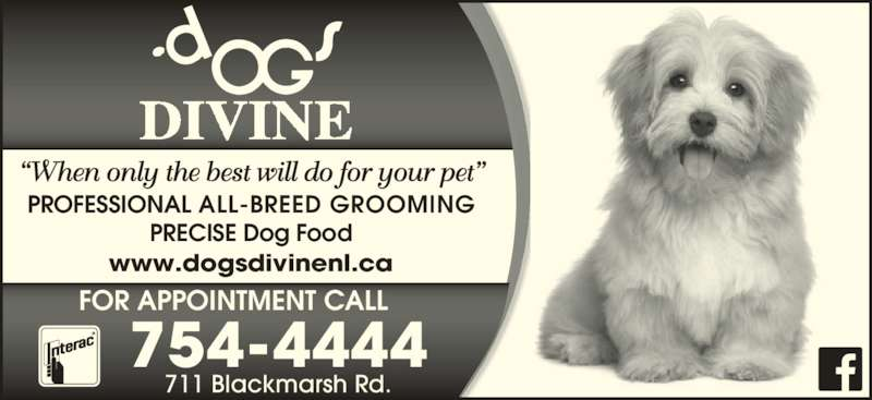 Dogs Divine (709-754-4444) - Display Ad - ?When only the best will do for your pet? FOR APPOINTMENT CALL PROFESSIONAL ALL-BREED GROOMING PRECISE Dog Food www.dogsdivinenl.ca 711 Blackmarsh Rd. 754-4444