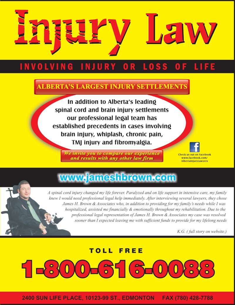 Alberta Injury Lawyers (7804280088) - Display Ad -