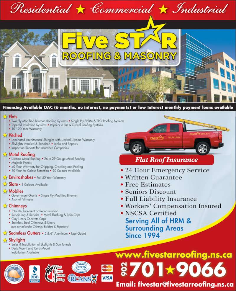 Five Star Roofing Amp Masonry Bedford Ns 468 Rocky Lake