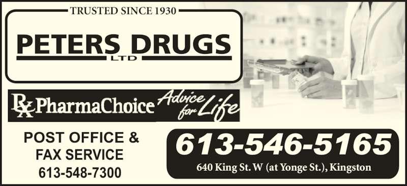 Peters Drugs Ltd (6135465165) - Display Ad - TRUSTED SINCE 1930 PETERS DRUGS LTD 640 King St. W (at Yonge St.), Kingston