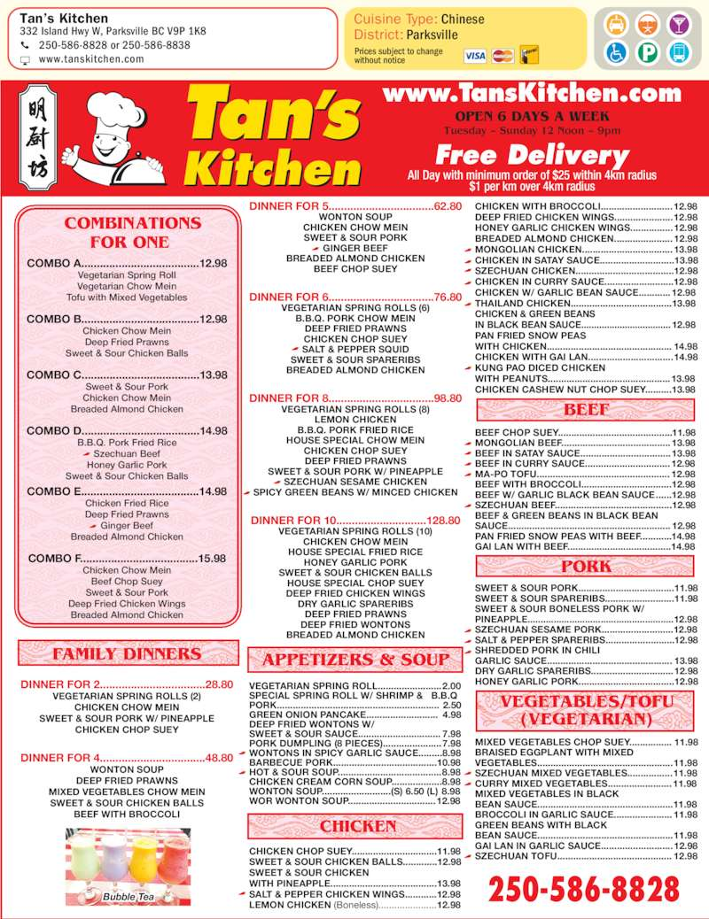 Tan S Chinese Food Parksville Menu