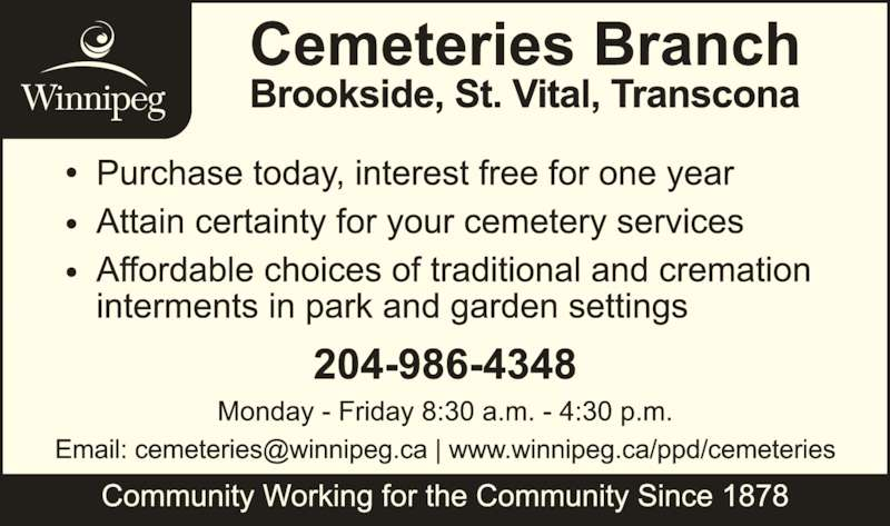 City of Winnipeg Cemeteries Branch (204-986-4348) - Display Ad -