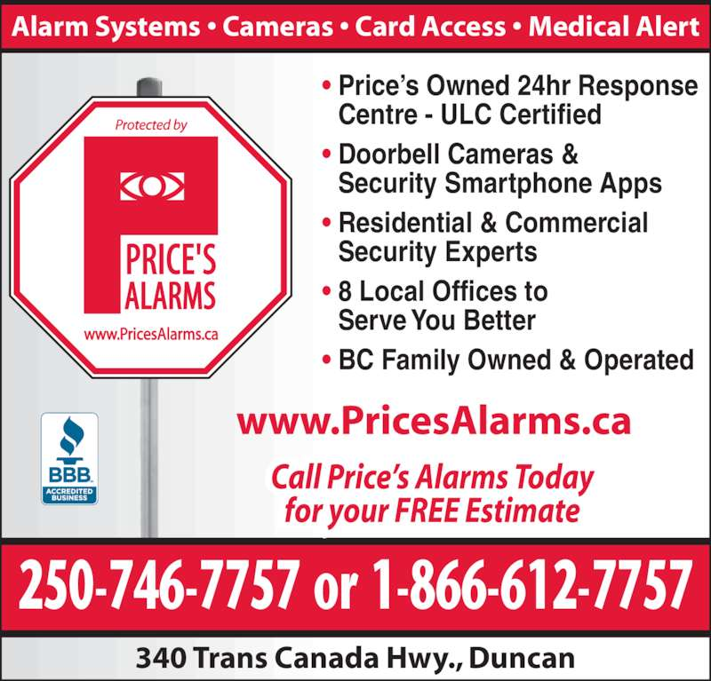 Price S Alarms Duncan Bc 340 Trans Canada Hwy Canpages