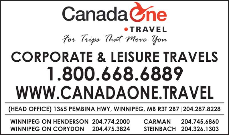Canada One Travel (204-287-8228) - Display Ad -
