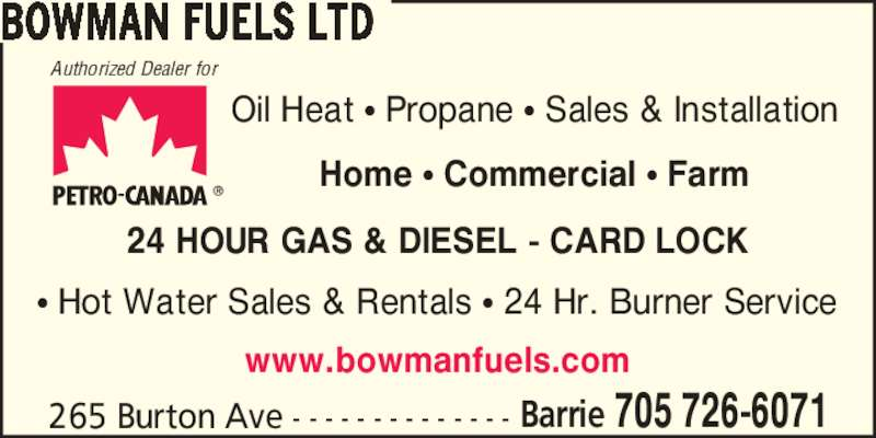 Bowman fuels ltd barrie on 265 burton ave canpages for 24 hour tanning salon near me