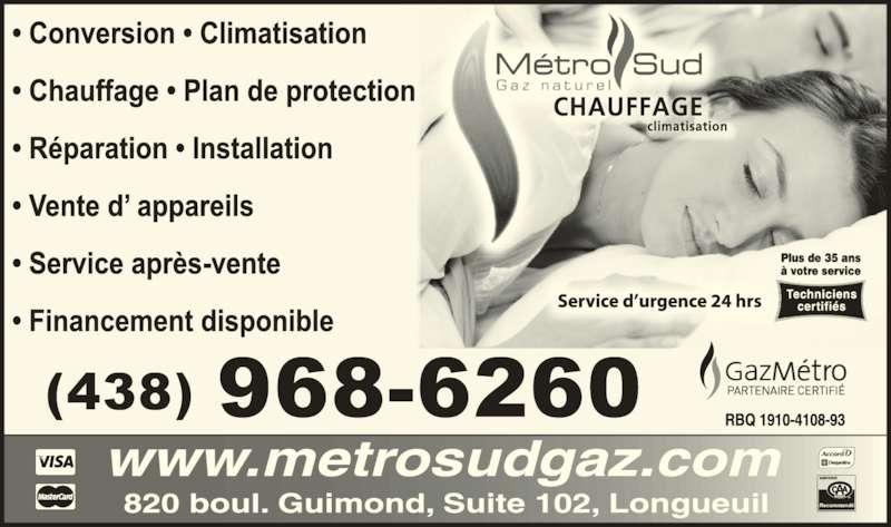 Metro Sud Gaz Naturel Inc (450-670-6600) - Annonce illustrée======= - (438) 968-6260 Recommand?