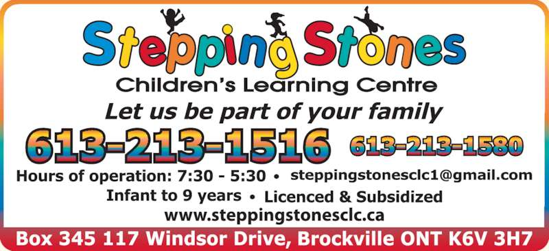 Stepping Stones Children's Learning Centre (613-213-1516) - Display Ad -