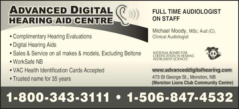 Advanced Digital Hearing Aid Centre Moncton Nb 473 St