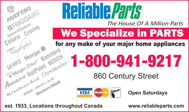 Reliable Parts (204-783-3614) - Display Ad - 1-800-941-9217
