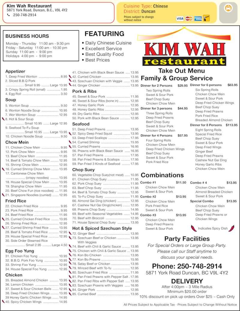 Wah Wah Chinese Food Menu