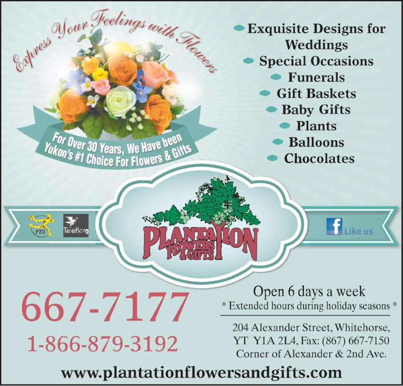 Plantation Flowers & Gifts (867-667-7177) - Display Ad - enYukon?s #1 Choice For Flowers & G ifts Exp ress  Your  Feelings with Flowers For Over 30 Years, We Have be
