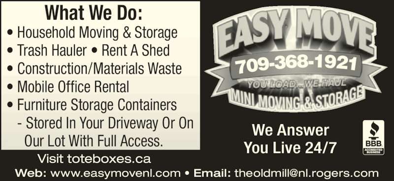 Easy Move Opening Hours 271 Brookfield Rd St John 39 S Nl