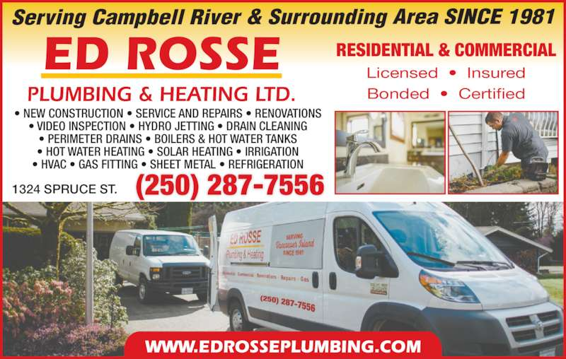 Rosse Ed Plumbing Ltd - Opening Hours - 1324 Spruce St, Campbell ...