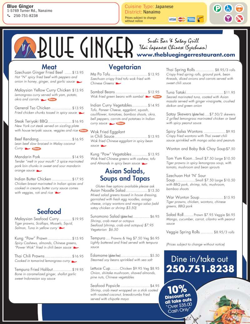 The Blue Ginger Restaurant Menu