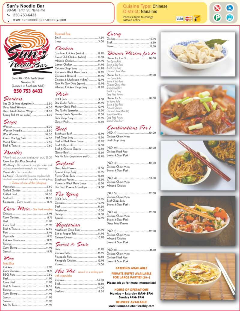 Victoria Chinese Food Winnipeg Menu