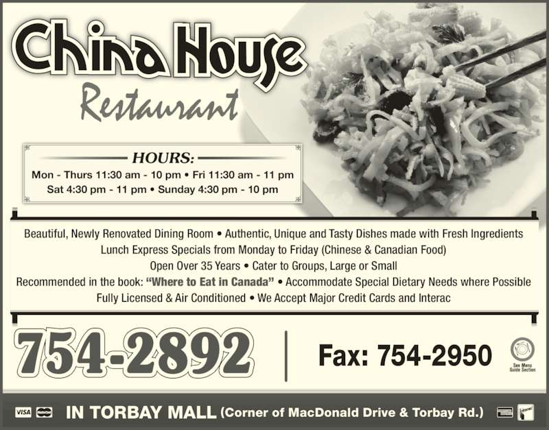 China House Restaurant  Torbay Rd