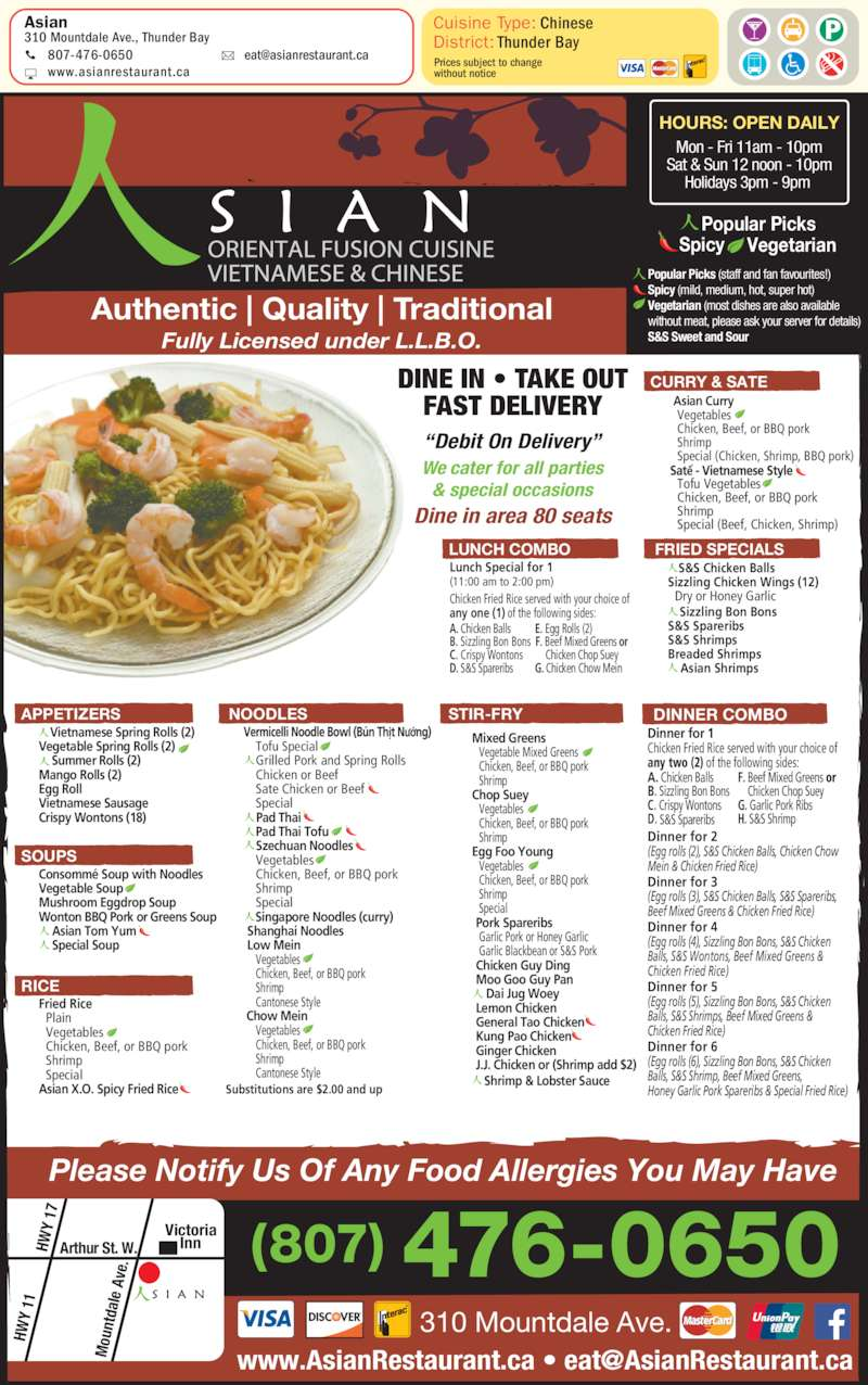 Asian thunder bay on 310 mountdale ave canpages fr for Asian cuisine saskatoon menu