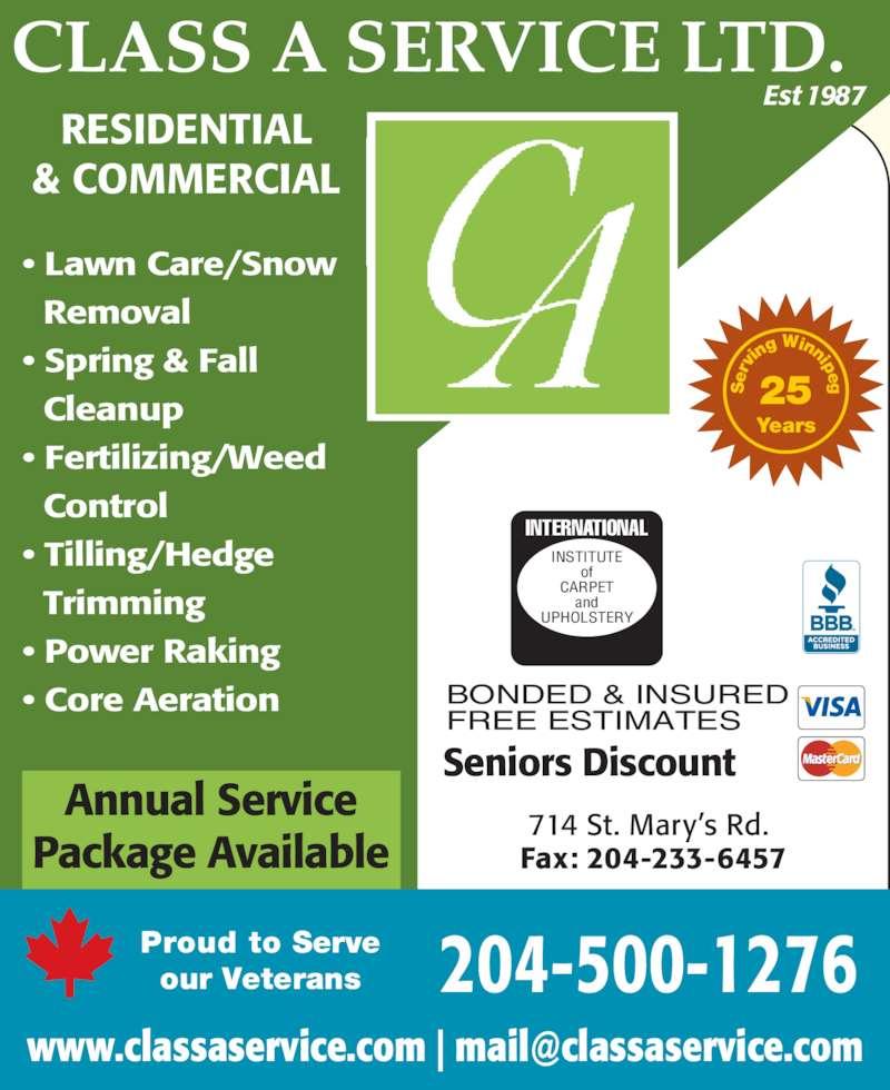 Class A Service Ltd Winnipeg Mb 714 St Mary S Rd