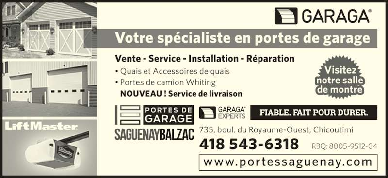 Portes de garage saguenay garaga chicoutimi qc 735 for Garage ad saint thurial