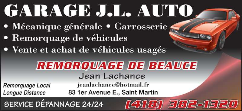 Garage j l auto saint martin qc 83 1e av e canpages for Garage ad st coulomb