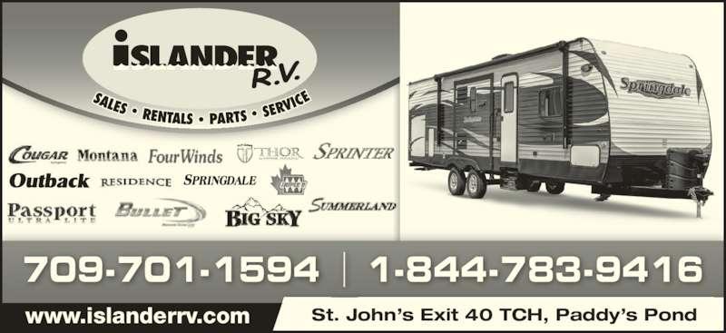 Islander R V Sales & Rentals (709-364-7368) - Display Ad - St. John?s Exit 40 TCH, Paddy?s Pond 709-701-1594 1-844-783-9416 www.islanderrv.com